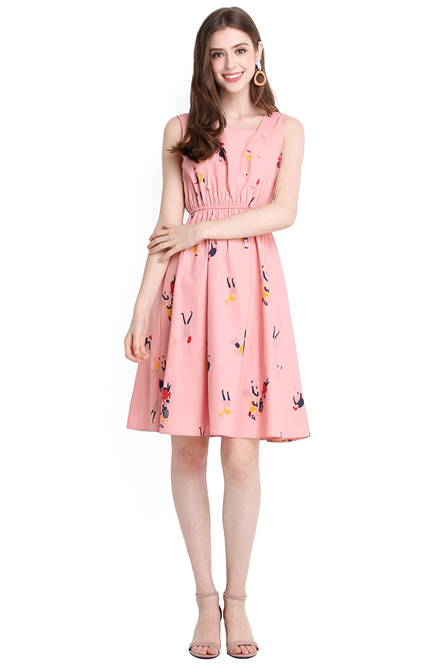 Dreamer's Paradise Dress In Pink Prints