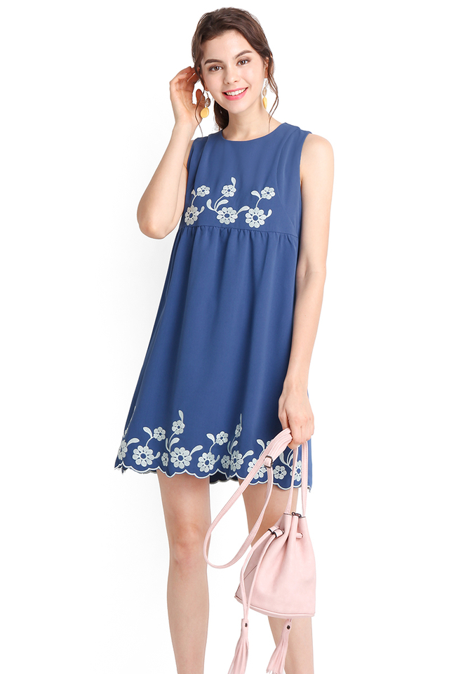 Sense Of Wonder Dress In Muted Blue