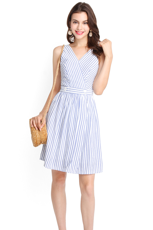 Palm Cove Dress In Blue Stripes