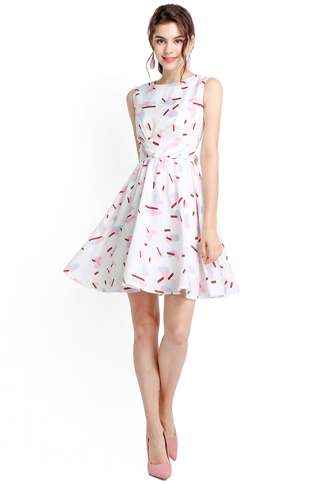 Sweet Like Candy Dress In White Prints
