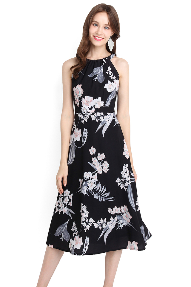 Timeless Beauty Dress In Black Florals