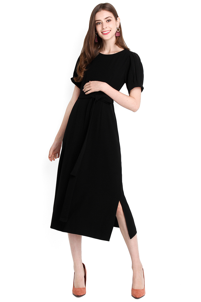 Budding Romance Dress In Classic Black