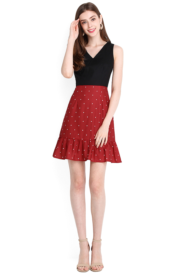 Sweet Cupid Dress In Wine Polka Dots