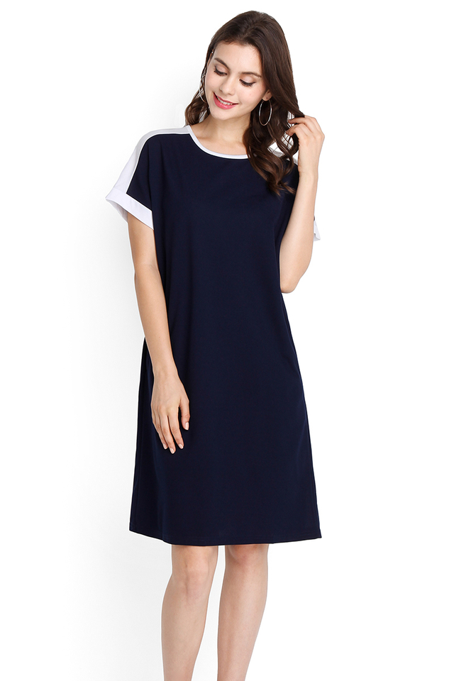 Summer Blessing Dress In Navy Blue