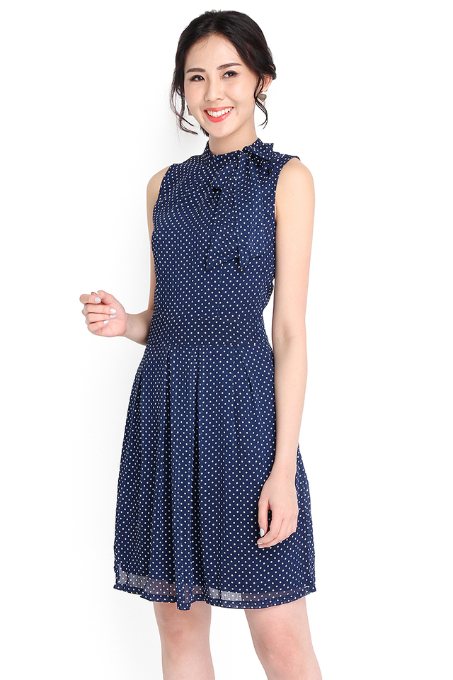 [BO] Romance In Rome Dress In Blue Polka Dots