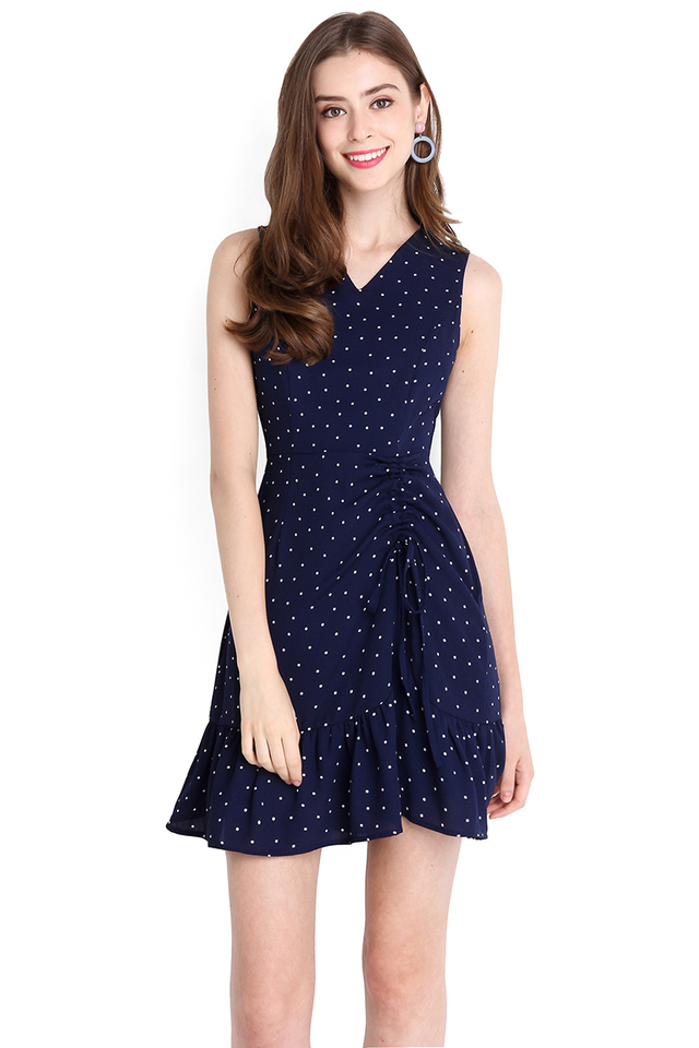 Flirty Personality Dress In Blue Polka Dots