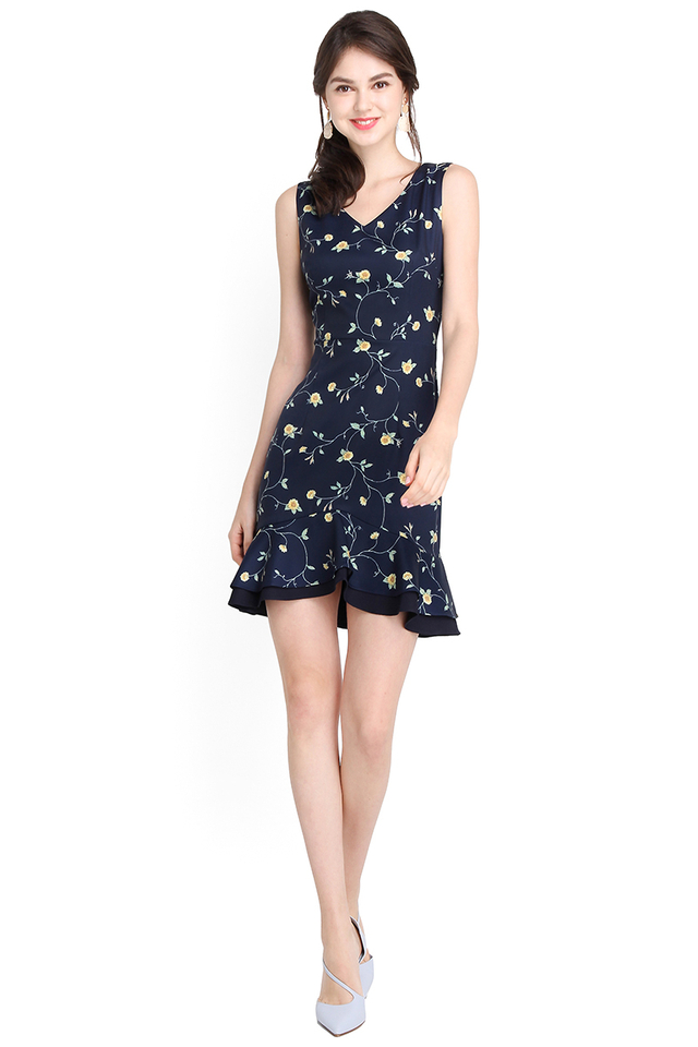 Spring Blossoms Dress In Blue Florals