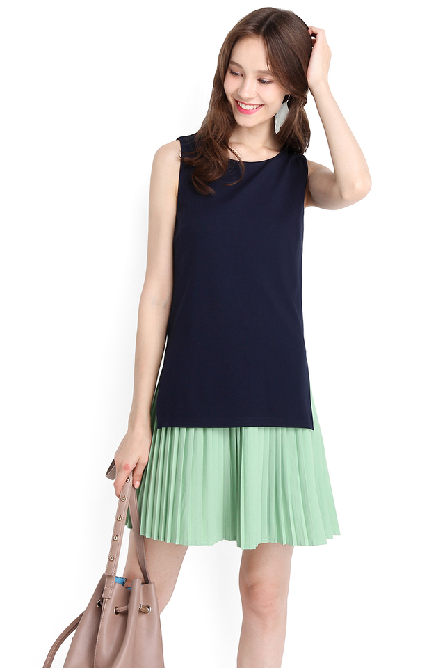 Two Of A Kind Dress In Blue Green