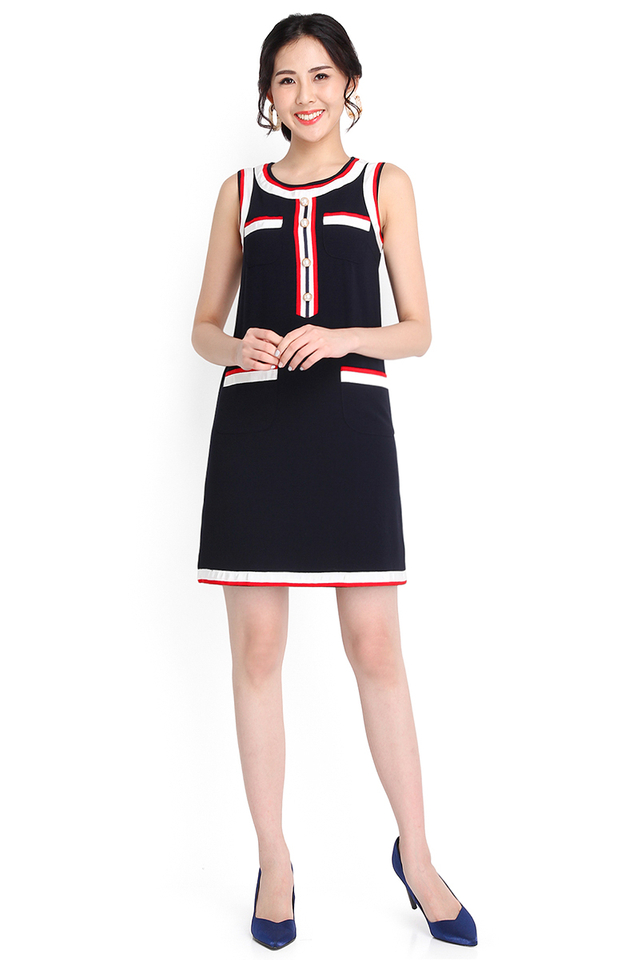Ahoy Captain Dress In Midnight Blue