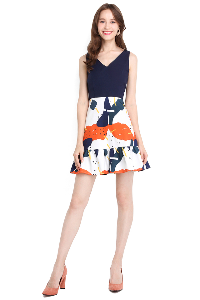 Merry Palette Dress In Abstract Prints