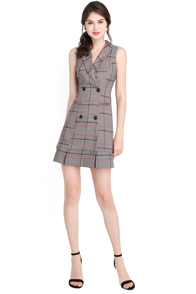 Bonjour Paris Dress In Grey Checks
