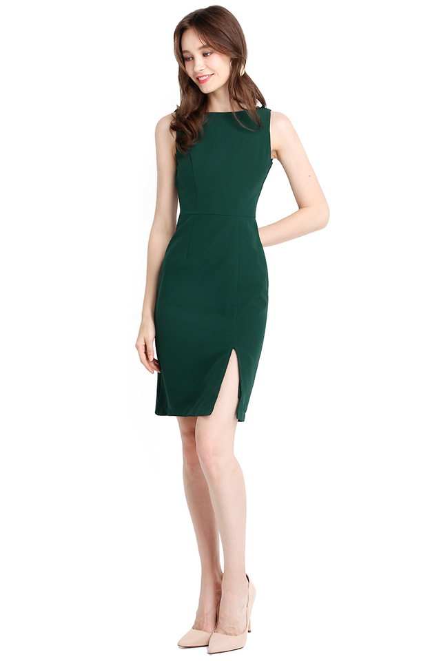 Classy Excellence Dress In Forest Green