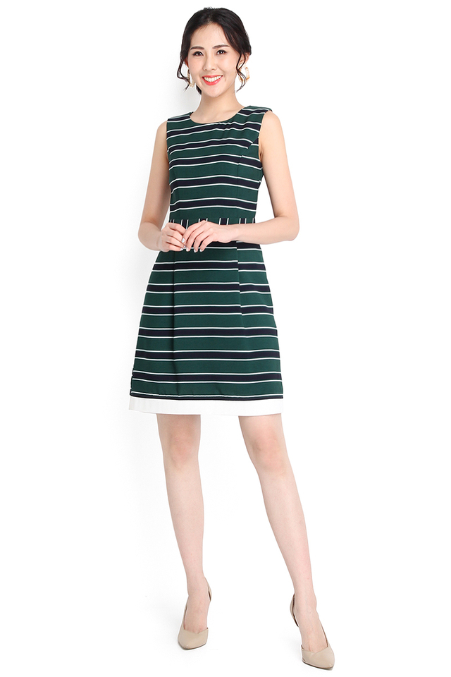 Outline Of Agenda Dress In Green Stripes