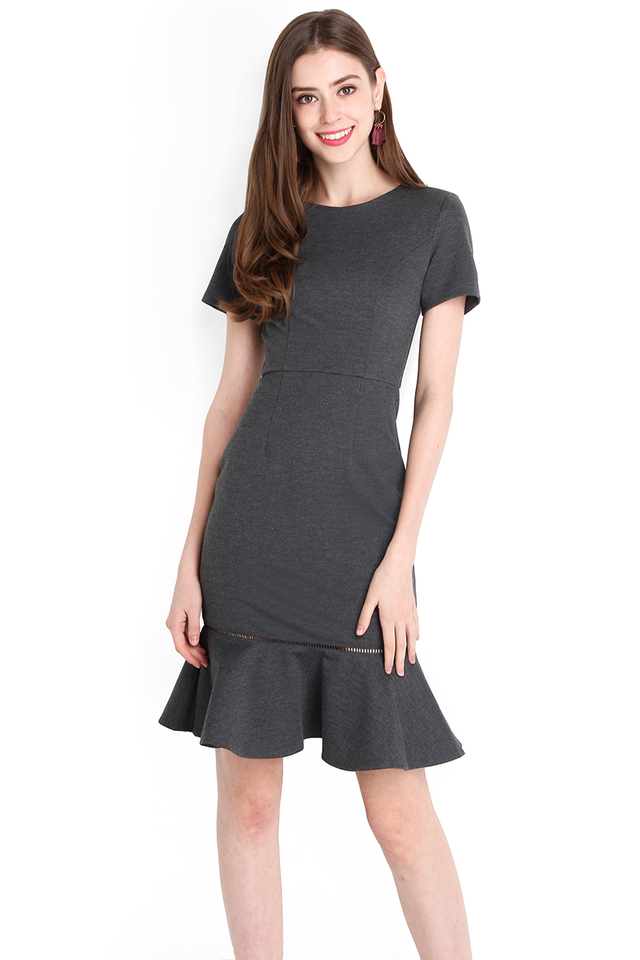 Captivated Gaze Dress In Heather Grey