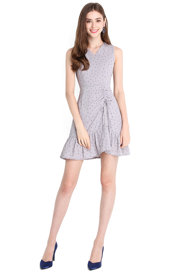 Flirty Personality Dress In Grey Polka Dots