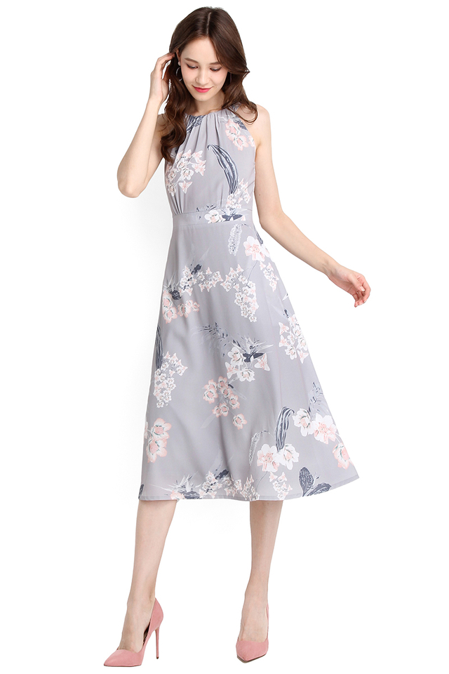 Timeless Beauty Dress In Grey Florals