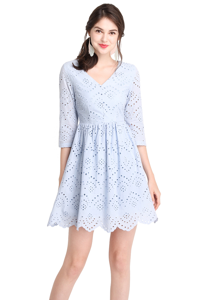 Summer Holiday Dress In Periwinkle