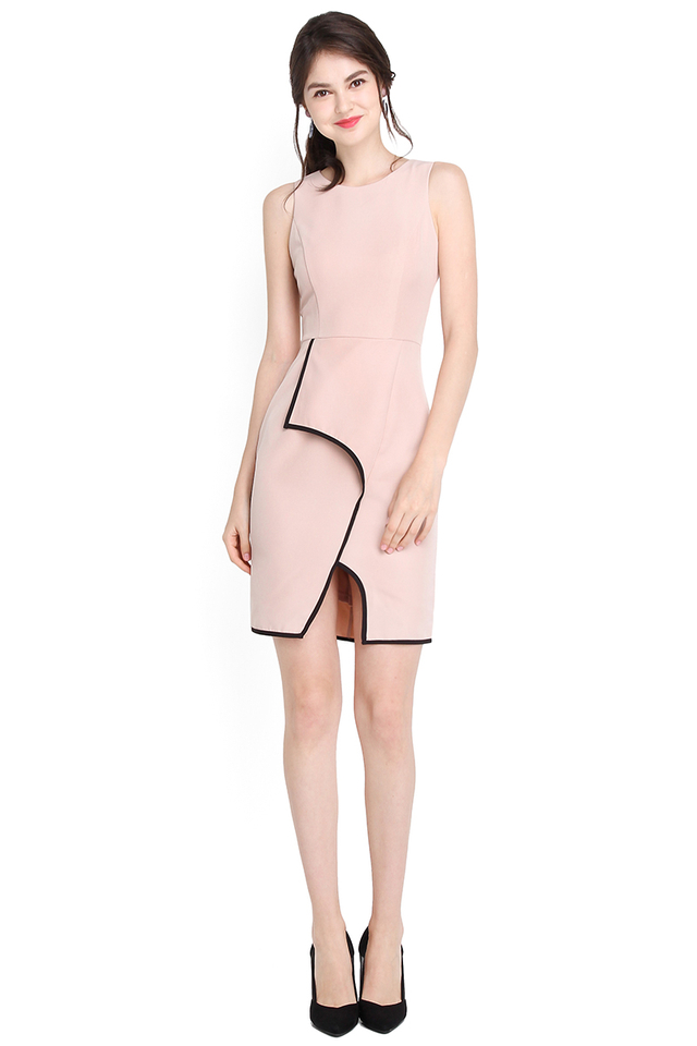 Sartorial Cohesion Dress In Dusty Pink