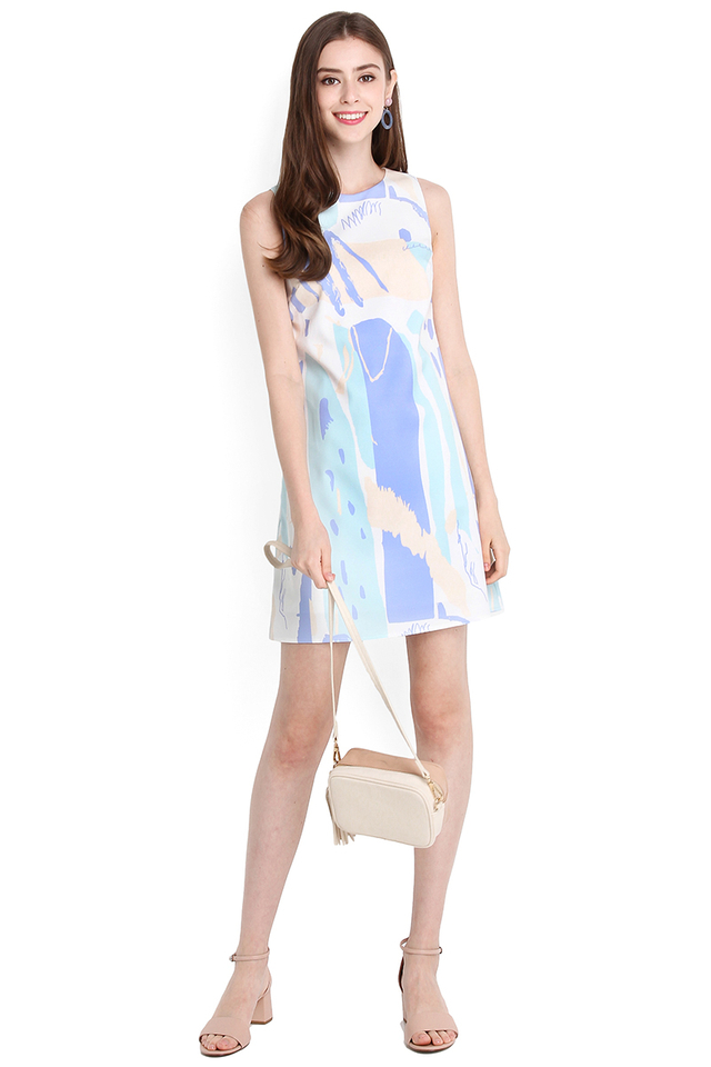 Painterly Style Dress In Lilac Prints