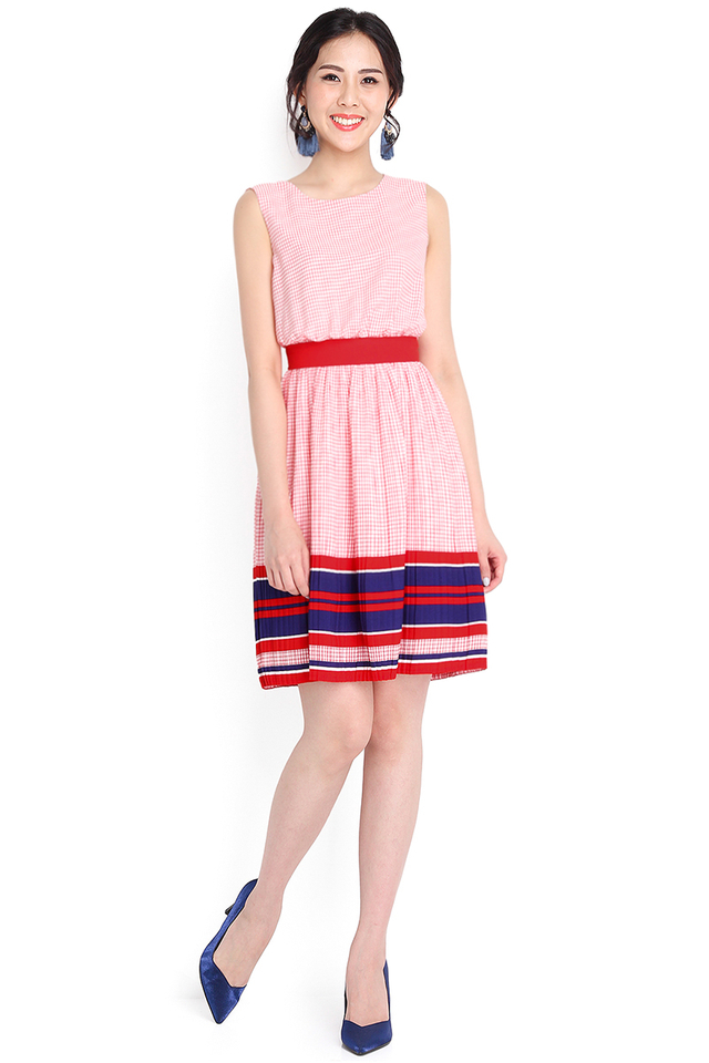 Messenger Of Love Dress In Red Checks