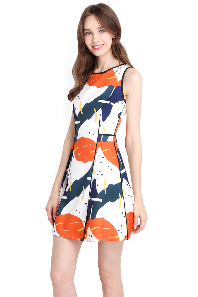 Lego Lesson Dress In Abstract Prints