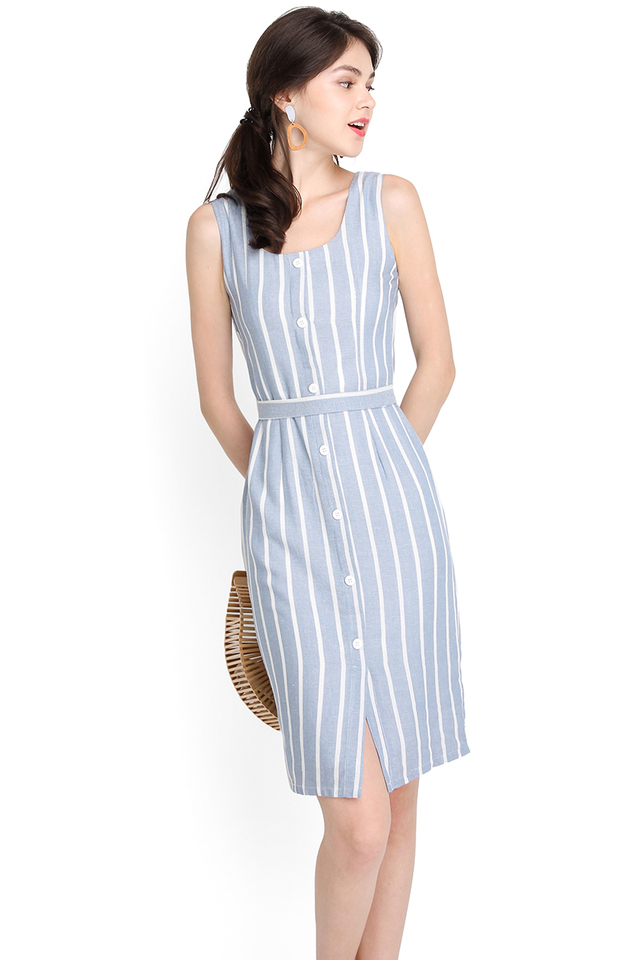 Delicate Silhouette Dress In Blue Stripes