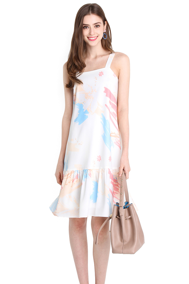 Unicorn Moment Dress In Peach Prints