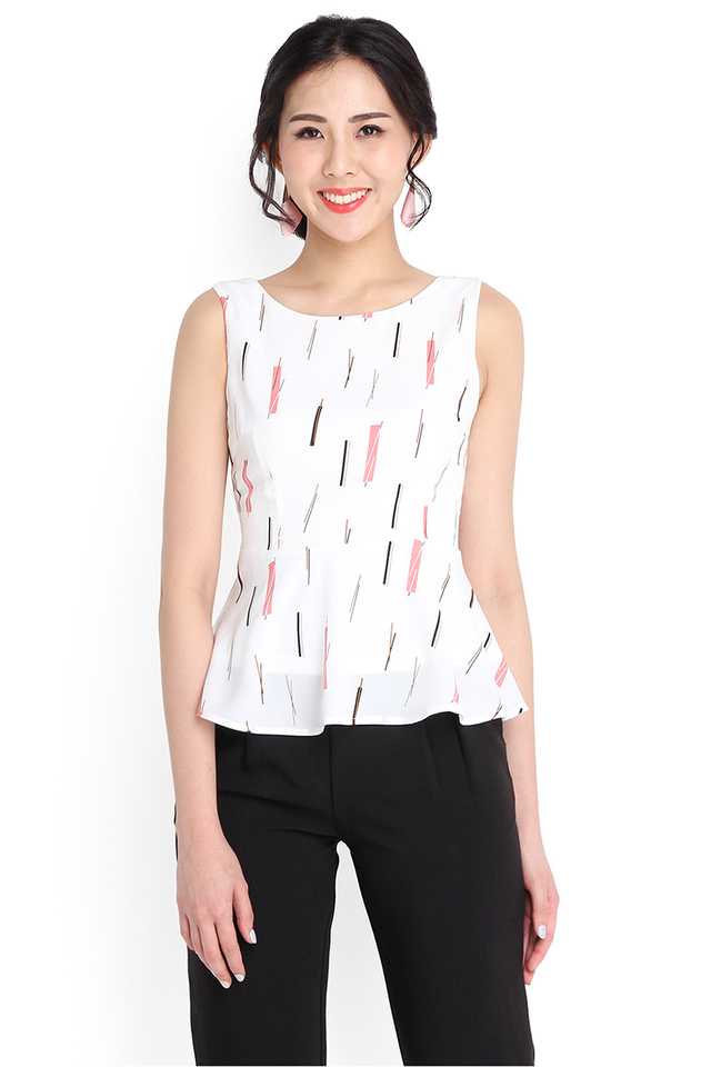 Soul In Love Top In White Prints