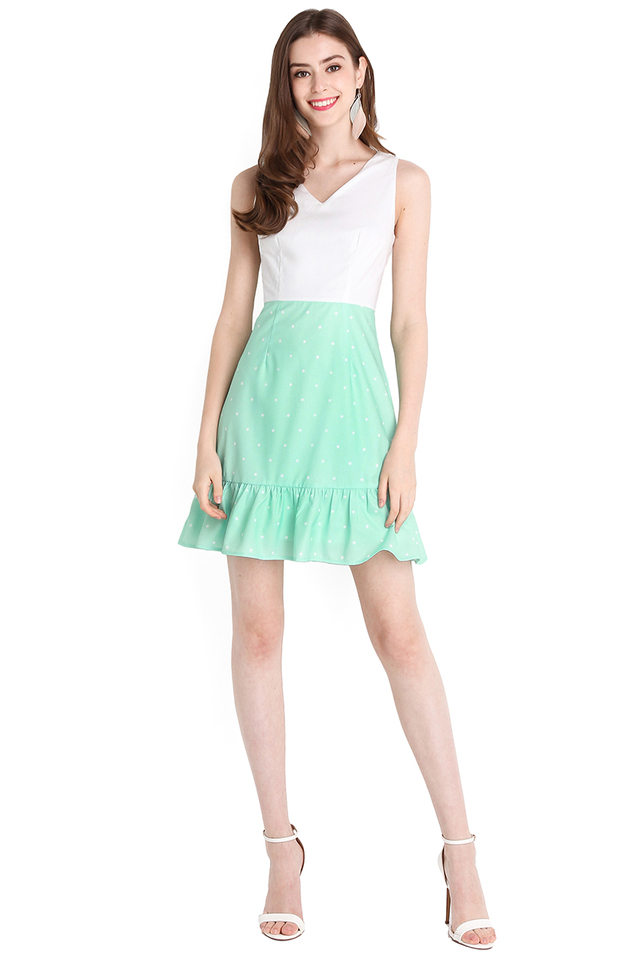 Sweet Cupid Dress In Mint Polka Dots