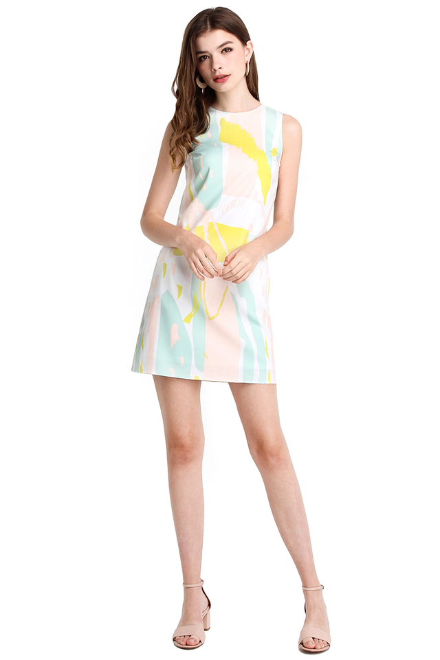 Painterly Style Dress In Yellow Prints