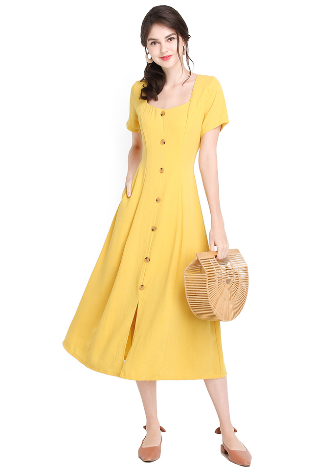 Summer Twirls Dress In Sunshine Yellow