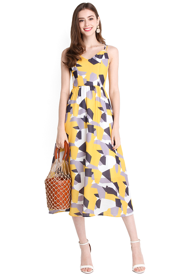 Love Puzzle Dress In Yellow Prints