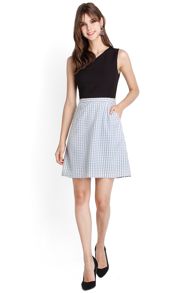 Innocent Charm Dress In Black Blue Checks