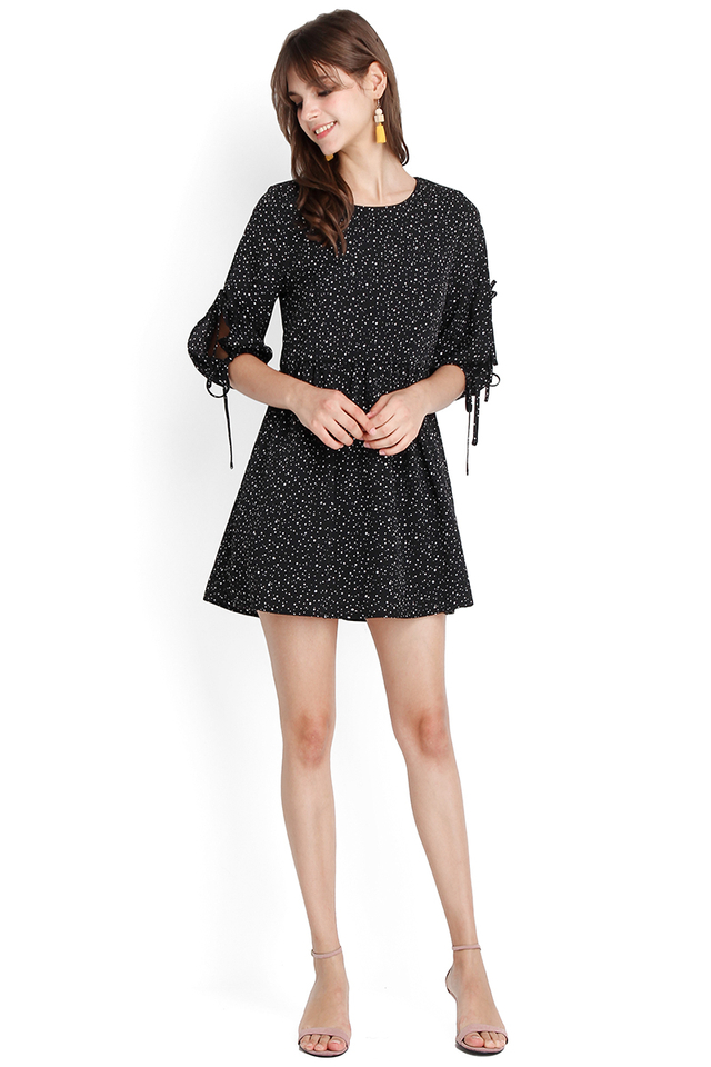 Gazebo Party Romper In Black Dots