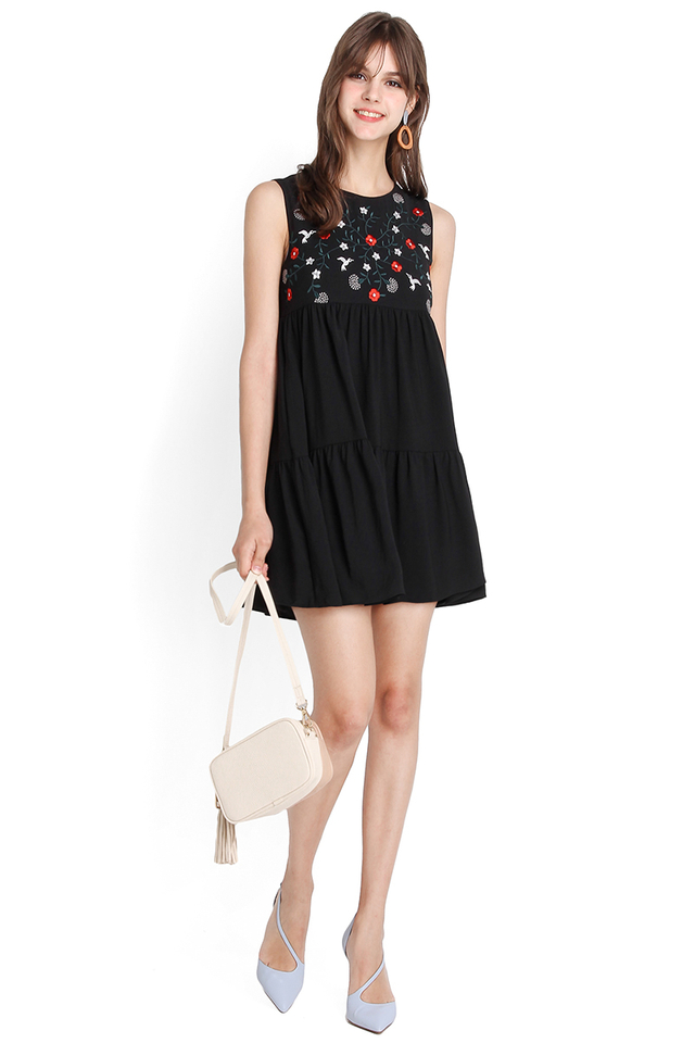 Stitch Of Brilliance Dress In Classic Black