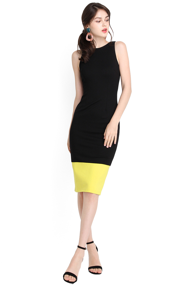 Designed To Flatter Dress In Black Lime