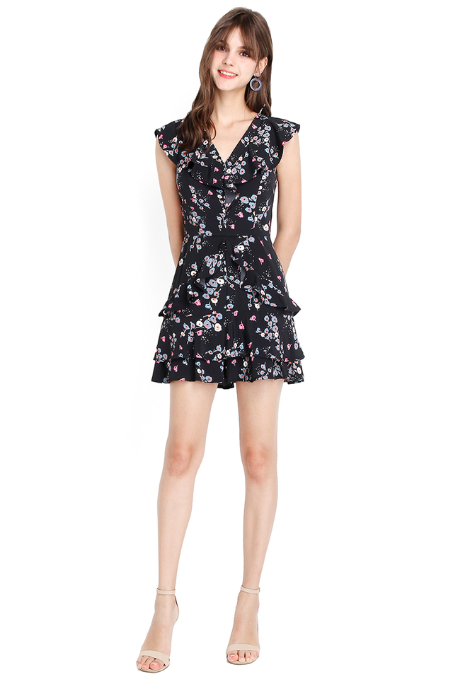Head Over Heels Romper In Black Prints