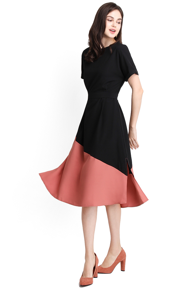 Positively Upbeat Dress In Black Pink