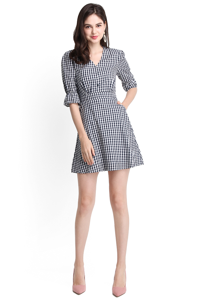 [BO] Just My Type Dress In Blue Checks