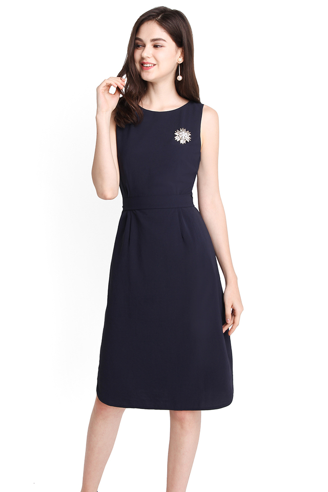 Cityscape Dress In Navy Blue