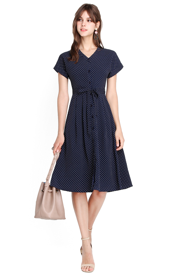 Spontaneous Vacay Dress In Blue Polka Dots