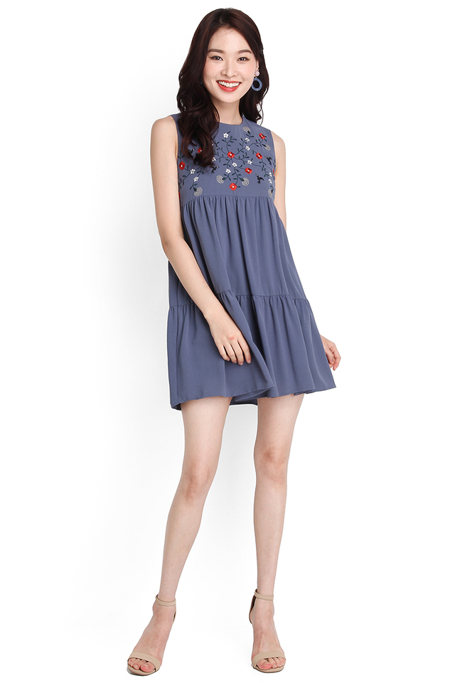 Stitch Of Brilliance Dress In Muted Blue