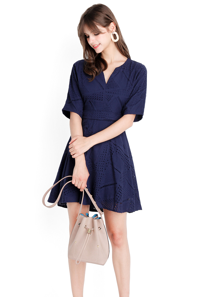 Peaches And Doves Dress In Navy Blue