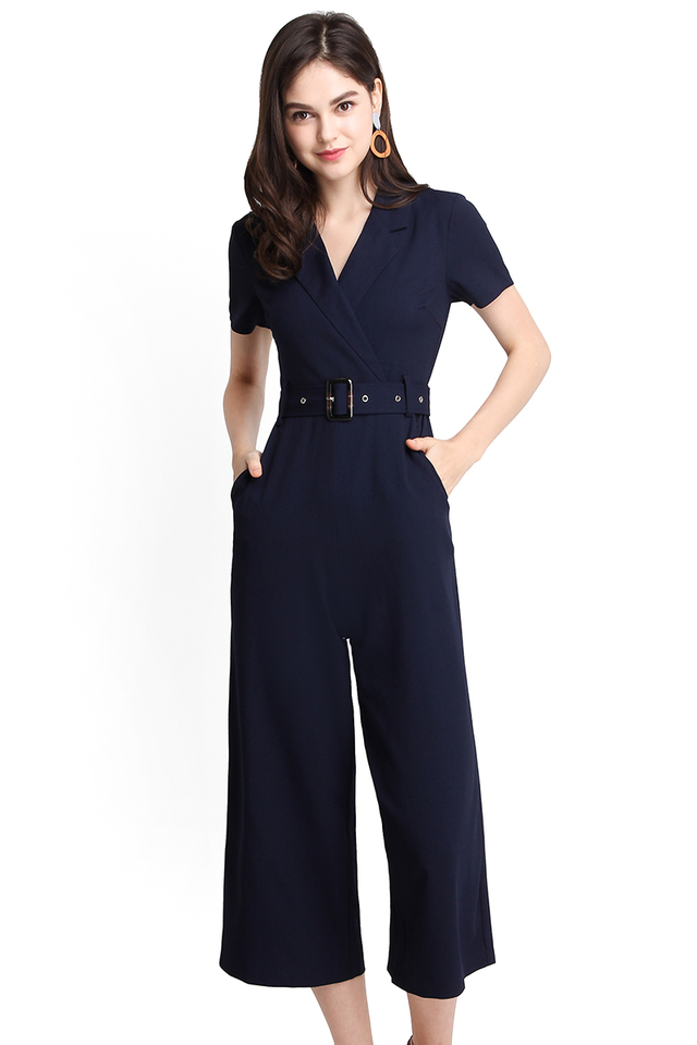 Ensemble Transformation Romper In Navy Blue