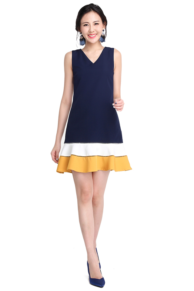 Charismatic Charm Dress In Navy Blue
