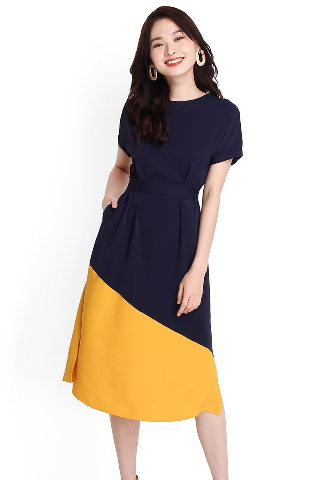 Positively Upbeat Dress In Blue Yellow