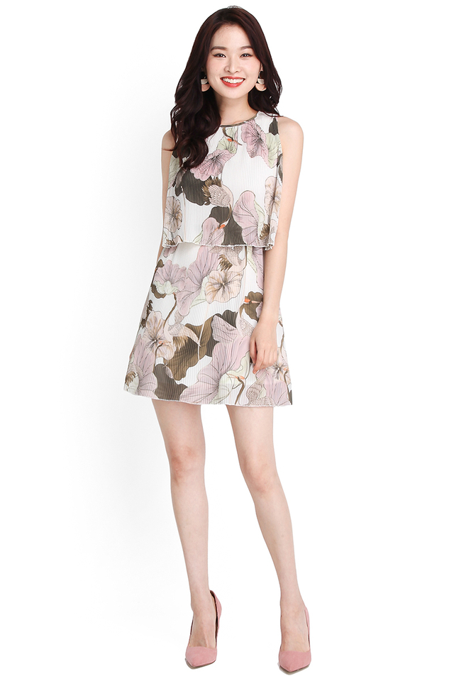 Confections Of Blooms Dress In Pink Florals