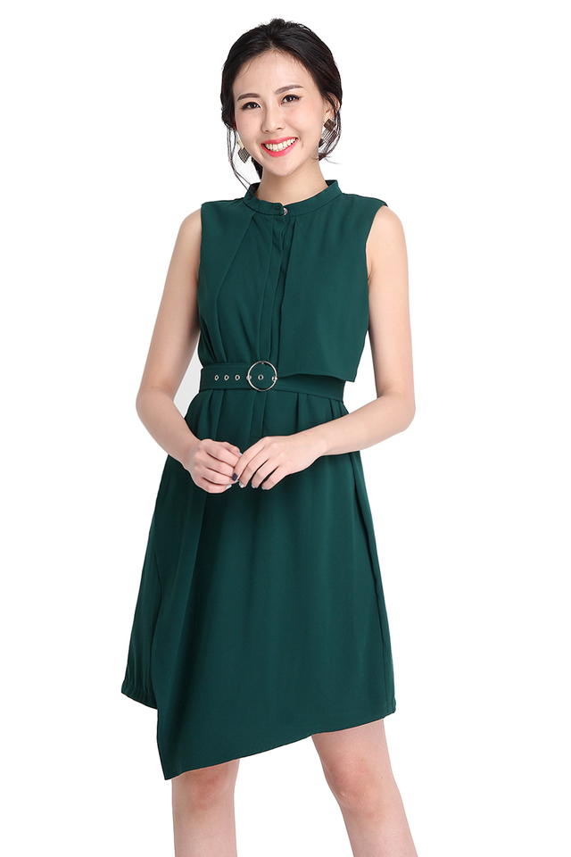 Feel Good Factor Dress In Forest Green