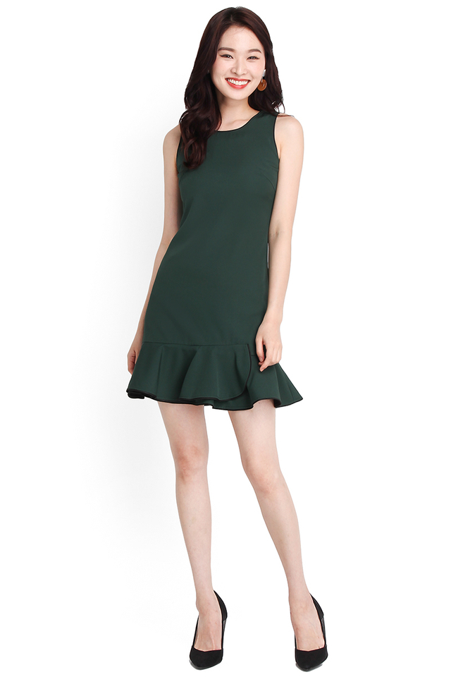 Poise On Point Dress In Forest Green