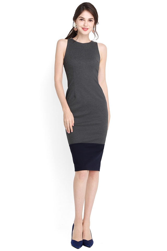 Designed To Flatter Dress In Grey Blue
